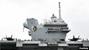 北京大机群侵扰台湾后,美英3艘航母举行联合军演